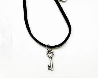 victorian Silver mini Key charm high quality black suede necklace