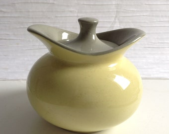 Harkerware Yellow & Grey Sugar Bowl.  Made in USA.  Vintage 1950.  Hollywood Regency,  Mid century modern, Danish Modern, Eames era. Deco