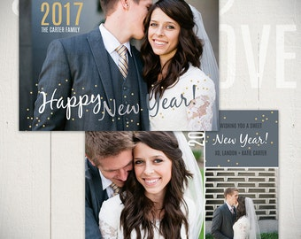 New Years Card Template: Confetti B - 5x7 New Year Card Template for Photographers