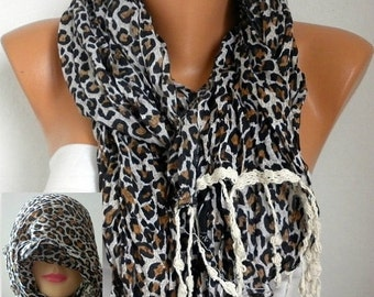 ON SALE --- Leopard Scarf ,Winter Scarf, Cotton Shawl, Cowl head cover Head Scarf Gift Ideas For Her Women Fashion Accessories