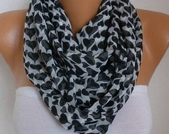 ON SALE --- Heart Infinity Scarf,Fall Scarf Chiffon Circle Loop Scarf Love Gift Ideas For Her Women Fashion Accessories Scarves