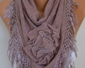 ON SALE --- Knitted Floral Scarf, Fall Winter Fashion, Shawl Cowl Lace Bridesmaid Gift Bridal Accessories Gift Ideas For Her, Women Fashion
