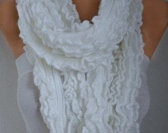 ON SALE --- White Knitted Ruffle Lace Scarf,Fall Winter Accessories, Shawl Scarf  Cowl Scarf Gift Ideas For Her Women Fashion Accessories,Ch