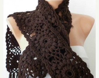 ON SALE --- SALE - Crochet  Scarf - Women Cowl - Knit Scarf   - Granny Square  - Brown Chocolate -Neck warmer Cowl Scarf - fatwoman