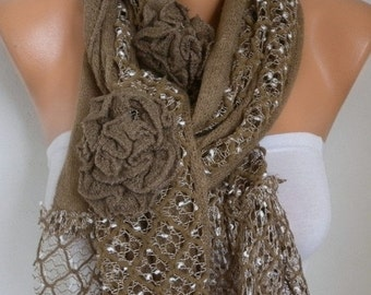 ON SALE --- Milky Brown Floral Knitted Scarf,Winter Scarf, Shawl Oversized Wrap Bridesmaid Gift Ideas For Her Women Fashion Accessories