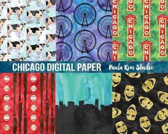 Watercolor Digital Paper, Chicago Digital Paper Pack, Digital Paper Commercial Use