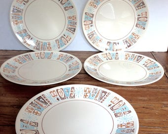 Vintage Taylor Smith Taylor Ironstone Moderne Bread and Butter Plate Set / Taylorstone Dessert Dishes / Moderne Set of 5 Plates.