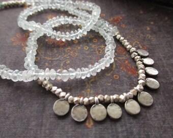 Aquamarine sterling silver necklace - Gypsy - pale blue layering everyday necklace March birthstone boho by slashKnots