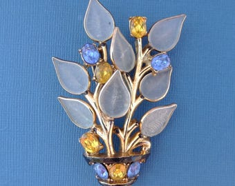Vintage 1942 TRIFARI Philippe Poured Glass Pate De Verre Fruit Salad Rhinestone Brooch