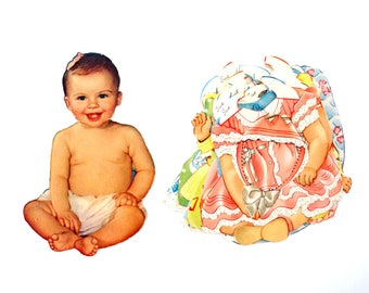 """Vintage Paper Baby Doll """"Sue"""" with Clothing, 21 pieces (c.1940s) - Doll Ephemera, Collectible Doll, Paper Projects"""