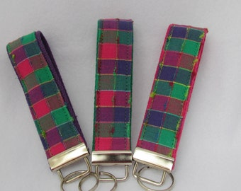 Keyfob wristlet / key chain  /pink green purple plaid/ key fob
