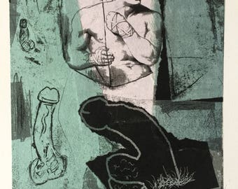 Original monoprint Lithograph with Chine Colle mystical landscape male nude abstract original art homoerotic gay art