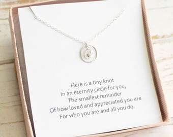 Tiny Sterling Silver Eternity Love Knot Necklace with Love or Friendship Sentiment Card