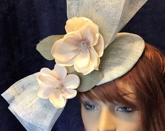 Race Hat, derby Hat, Race fascinator, Derby Fascinator, Green Fascinator,  Fascinator, Pale Green Fascinator, Magnolia Fascinator