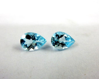 Blue Topaz  Pear Drops Cut Stone 2Pc Match Pair-Size 7x10MM Height-4.5MM-Weight-4.40Ct-AAA Quality Natural Sky Blue Color 100% Natural