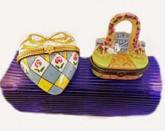 Set of 2 Vintage Trinket Box, Home Decor, Collectible, Figurines, Easter Rabbit Decor, Heart Decor, Office Desk Decor, Knick Knacks,