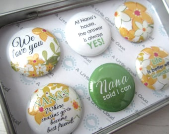 Mother's Day Magnets, Gift for Nana, Grandmother Magnets, Custom Magnet Set