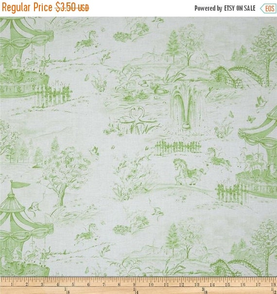 Carousel Dreams by Cynthia Coulter for Wilmington Prints/FAT QUARTER/Light Green on White/Children's Fabric/Pre Washed and Pre Shrunk/RARE
