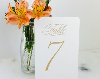Sweet and Simple Table Number set - Wedding Table Number Signs - Matte Gold - numerical - calligraphy