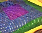 King Size Rainbow Granny Square Blanket with matching King Size Shams