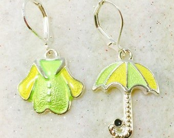 Umbrella and Raincoat Earrings, Rainy Day, Raining Day Earrings, April Showers, Weather Earrings,  Storm Jewelry, Mothers Day Gift Earrings