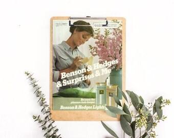 Romantic Colored Decor • 1981 Magazine Ad • Women Smoking Photo • Slim Cigarette • Cute Women Ad • Marketing to Women • Benson and Hedges