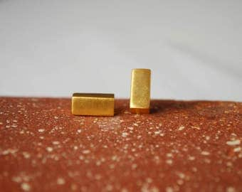 Geometric Stud Earrings, Minimalist Earrings, Brass Earrings, Gold Plated Earrings Rectangular Earrings