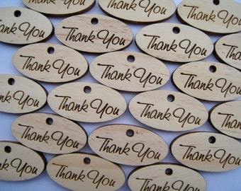 "Qty - 20 - Pine ""Thank You"" Tags"