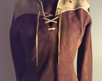 Suede Cowgirl Pullover Lace Front Brown and Cream