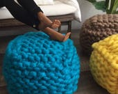Exclusive! Handknitted Square Pouf Ottoman in Multiple Colors for sixth scale or playscale diorama or dollhouse