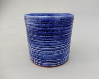 Pottery Utensil Holder - Royal Blue Ceramic Kitchen Caddy
