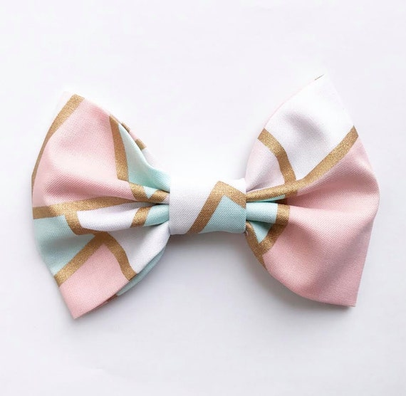 NEW SPRING XL Bow Tie Headband or Clip Pastel Geometric - XLarge Bow Tie Headband - girl, baby, toddler, woman, bow, jewel tones