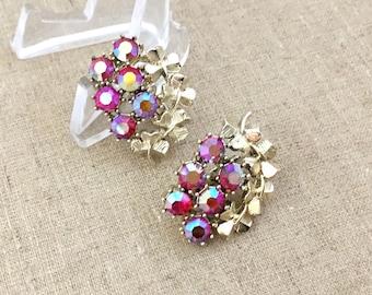 Rhinestone Clip On Earrings, Vintage Coro Red Rhinestone Earrings, Red Aurora Borealis, Cluster Earrings, Costume Jewelry Earrings