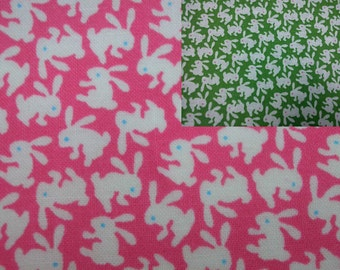Small white rabbits, 1/2 yard, pure cotton fabric