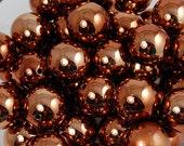Shiny Bronze Chunky Acrylic Round Bubblegum Bead Set -  10pcs/set