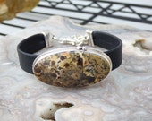 Dendritic Agate Leather Sterling Silver Bracelet