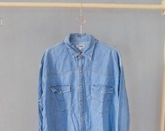 SALE Oversized denim Shirt Vintage 90's Unisex jeans shirt