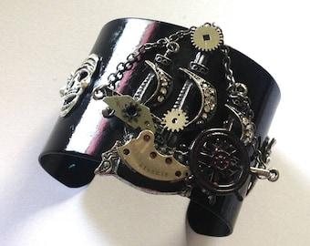 Steampunk Pirate Ship Black Cuff Bracelet