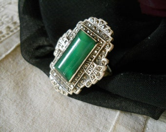 Vintage Marcasite Diamond and Silver Ring With Green Stone And Filigree Design on the back Vintage Jewelry Glam Jewelry