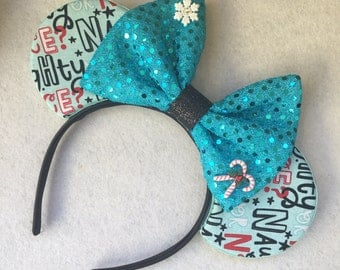 Christmas Mouse Ears - christmas mickey ears, holiday, festival of lights, christmas, gift, present, naughty or nice, candy cane, snowflake