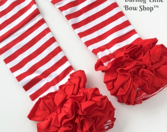 Red Striped Ruffle Leggings - Candy Cane Ruffle Leggings - 2016 Holiday Collection knit leggings - size Newborn to 8 with FREE SHIPPING