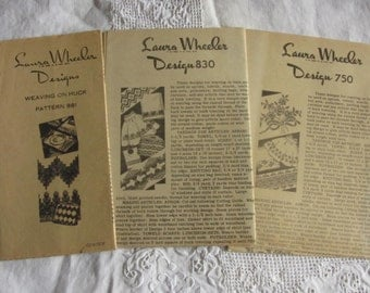 Lot 3 Laura Wheeler Huck Embroidery Pattern Instruction Sheets  750 830 981 Mail Order
