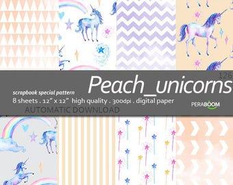 Watercolor unicorn paper 126, Unicorn digital paper, Pastel Unicorn paper, Unicorn scrapbook paper,Rainbow unicorn paper,Cute unicorn paper