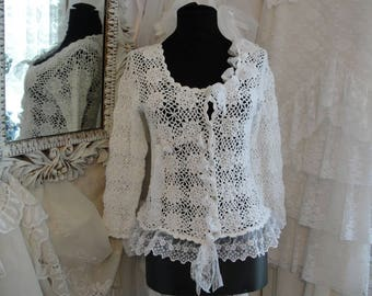 White cardigan sweater with lace trim, shabby chic lacey top, romantic french market, lace tops