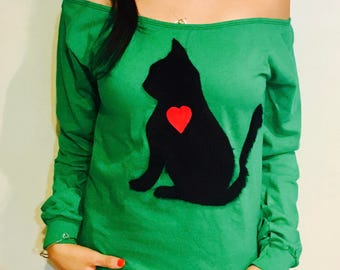 Black Cat Long Sleeve T Shirt - Size S-M-L and XL