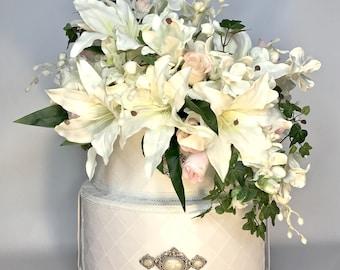 Wedding Card Box Floral Basket Wedding  Box, Lilies, Orchids, Roses, White Custom Card Box Money Holder For Wedding Card Boxes Gift Card Box