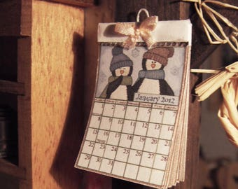 Country Calendar - miniature 1:12 scale for dollhouse -
