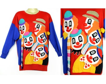 ugly sweater, clown, 80s,  sweatshirt, three dimensional, red, blue, circus, stripes, polka dots