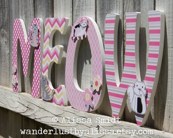 Kitty Cat Custom Wooden Letters, Custom Letters, Baby Girl (pink, yellow, kitty, cat, kitten, quilted kitty) 12 Inch Size
