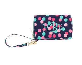Monogrammed Wristlet DOTS  Wallet with Strap iPhone Holder Embroidered Wristlet Monogrammed Wristlet